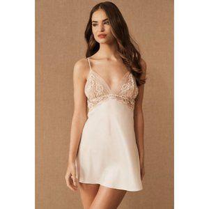 Flora Nikrooz Rosa Small Blush Pink Satin Chemise Lace Trim Nightgown Teddy